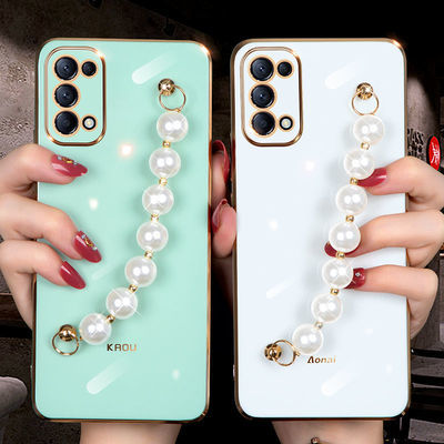 27653/reno5手机壳reno5pro手机壳新款镜头全包珍珠腕网红女款超薄软壳