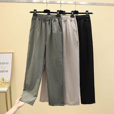 夏季薄款休闲裤子女2021新款宽松显瘦直筒裤矮个子黑色哈伦裤女款