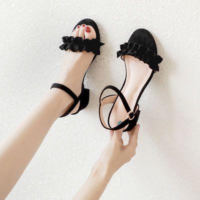 64018/凉鞋女夏2021年新款百搭时装中跟粗跟一字扣带仙女风配裙子的女鞋