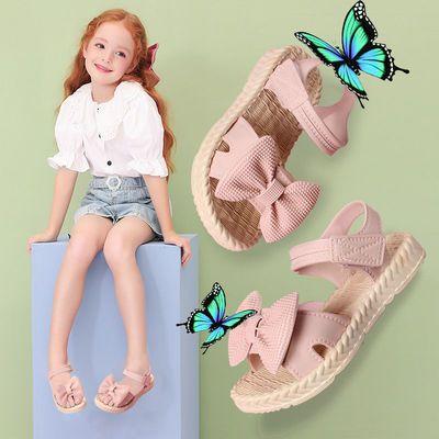 32454/2021新款潮公主时尚儿童凉鞋女童小学生防滑软底蝴蝶结果冻凉拖鞋