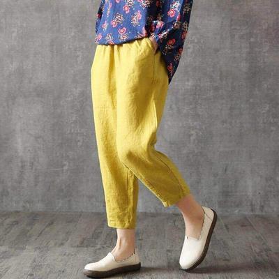 棉麻九分裤高腰大码纯色哈伦全棉宽松休闲女士萝卜裤夏季薄妈妈裤