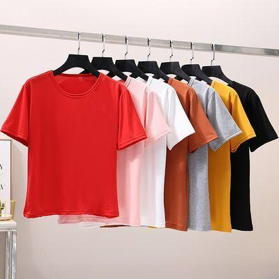 2021夏季男女新款纯白色t宽松休闲短袖打底衫活动班服定制T恤女装