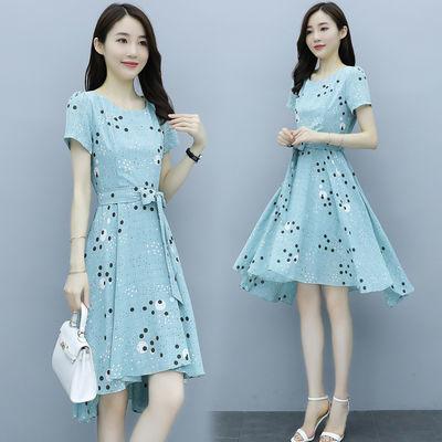 62528/波点连衣裙2021夏季新款超仙女森系收腰显瘦气质不规则长裙子