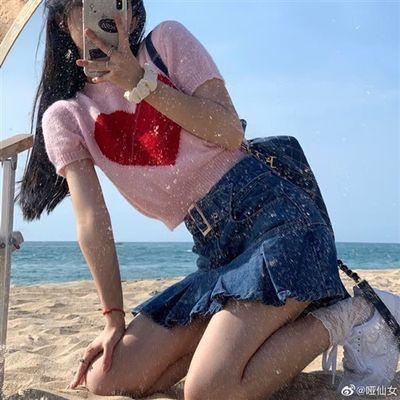 39010/toyoung甜到心尖尖复古爱心修身短袖针织衫女外穿薄款短上衣夏