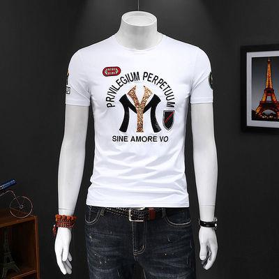 40455/夏季2021男士新款短袖t恤修身珠片绣花青年潮流棉个性半袖小衫男