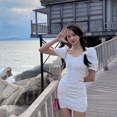 35992/褶皱连衣裙女夏2021年新款气质性感设计感法式抽绳修身显瘦包臀裙