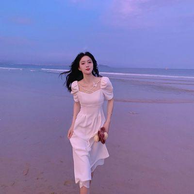 35646/法式方领连衣裙女夏新款白色初恋裙复季复古超仙泡泡袖显瘦气质裙
