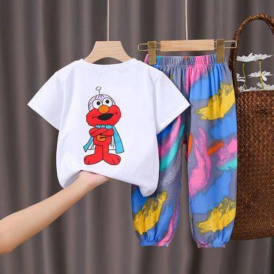 男女童短袖套装2021新款夏季儿童T恤中小童宝宝卡通洋气两件套潮
