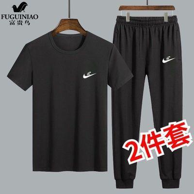 富贵鸟夏季短袖T恤男士薄款休闲套装运动弹力大码宽松潮流长裤子