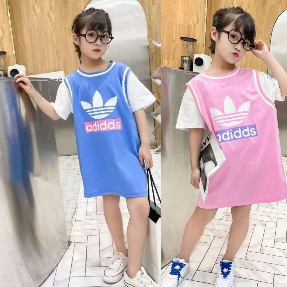 2021新款女童短袖T恤裙洋气小学生夏季体恤女韩版中大女孩夏装