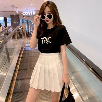 31901/百褶裙女夏季白色短裙高腰a字显瘦半身裙防走光白色西装面料裙子