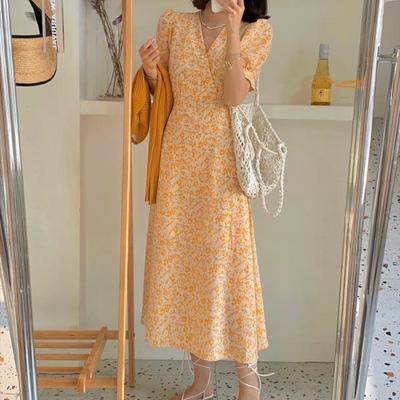 39739/法式复古碎花雪纺短袖收腰轻熟风连衣裙2021新款仙女裙温柔中长裙