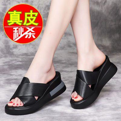60761/真皮软牛皮坡跟女拖鞋2021夏季新款高跟厚底女鞋松糕底时尚凉鞋女