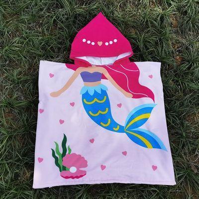 48709/加大新款可穿儿童浴巾斗篷沙滩巾披风旅行洗澡游泳衣中大童浴袍