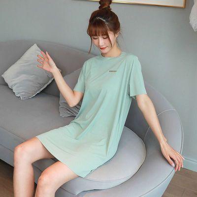 33031/冰丝睡裙女夏季睡衣女夏可外穿网红新款中长款短袖睡裙女大码睡衣
