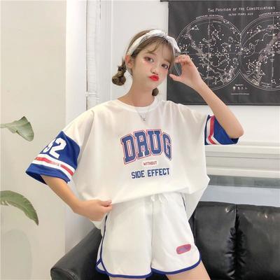 34436/夏季韩版学生宽松中长款半袖T恤短裤两件时尚运动套装篮球衣服女