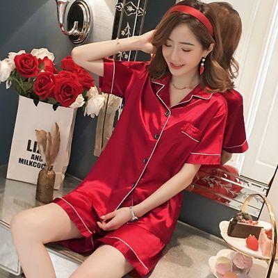 29411/睡衣女夏季冰丝两件套2021年新款薄款短袖可外穿家居服套装
