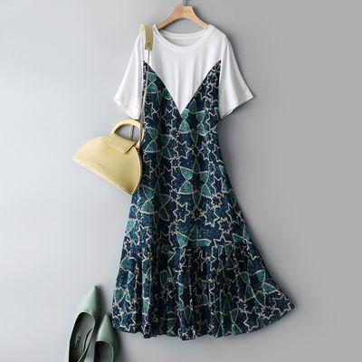 58406/海谧短袖连衣裙2021夏季新款撞色图案拼接宽松遮肉显瘦时尚气质裙
