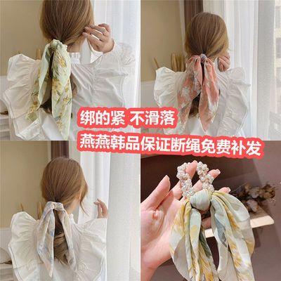 29542/韩式珍珠碎花飘带头绳2021新款发带女绑发头饰简约气质扎马尾发圈