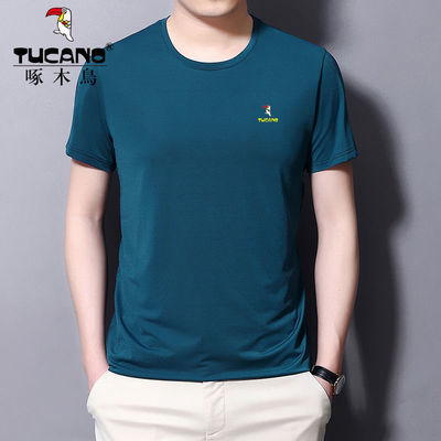 啄木鸟夏季刺绣冰丝男士翻领短袖T恤中年翻领纯色速干宽松体恤衫