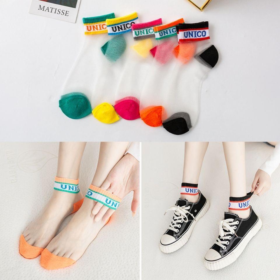 春夏季新款ins袜子女网红同款短袜玻璃丝水晶袜透气可爱百搭学生