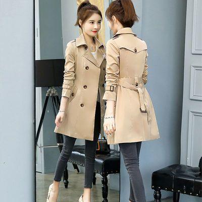 68968/小个子风衣女150cm显高2021春韩版时尚中长款卡其色修身女装外套