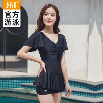 44500/361度连体泳衣女遮肚显瘦大码中年妈妈款黑色短袖遮肉裙温泉泳装