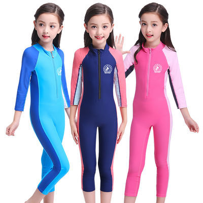 49584/新款儿童泳衣防晒小童游泳衣女童连体长袖学生女小中大童运动泳衣