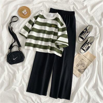 30160/单/套装夏季新款时尚阔腿裤两件套女学生韩版宽松休闲短袖条纹T恤