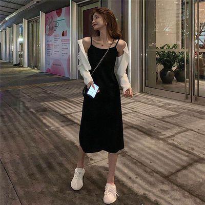 37433/气质开叉吊带连衣裙女春秋夏季2021新款修身A字裙+开衫外套两件套