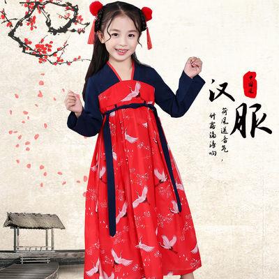 女童汉服春夏套装中国风超仙飘逸连衣裙传统复古印花工艺假两件裙