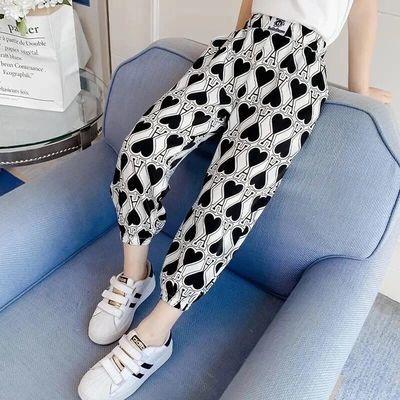 女童裤子薄款2021夏装新款女孩洋气运动休闲裤儿童夏季九分防蚊裤