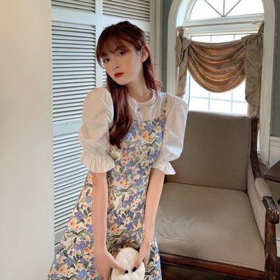 37134/2021夏新款少女甜美森系碎花吊带裙单件连衣裙
