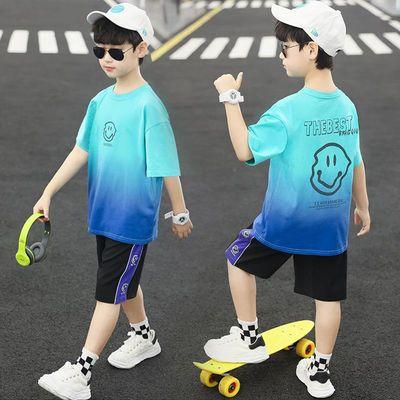 37828/童装男童夏装短袖速干两件套装2021新款中大儿童休闲洋帅气韩版潮