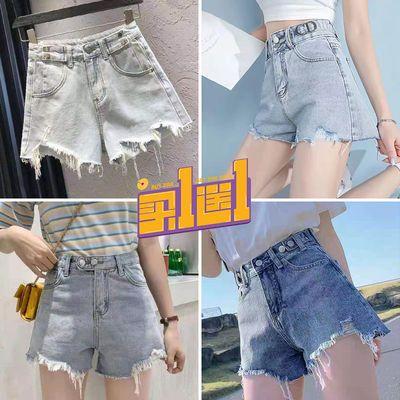 37500/买一送一牛仔短裤女夏季新款破洞毛边高腰显瘦阔腿宽松a字热裤潮