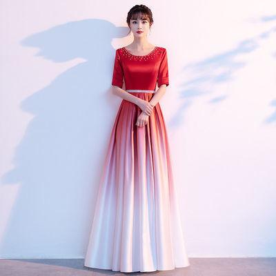 36959/大合唱团演出服女长裙学生红歌比赛服装红色爱国朗诵指挥晚礼服夏