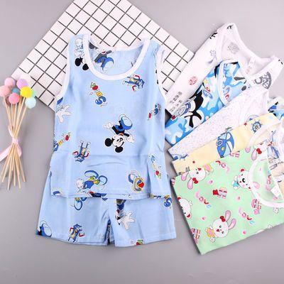 儿童冰丝背心套装夏季男童女宝宝短裤无袖空调服小孩薄款