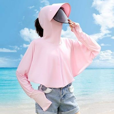 防紫外线防晒衣女冰丝防晒衣衣服女2021新款夏季薄款遮阳帽