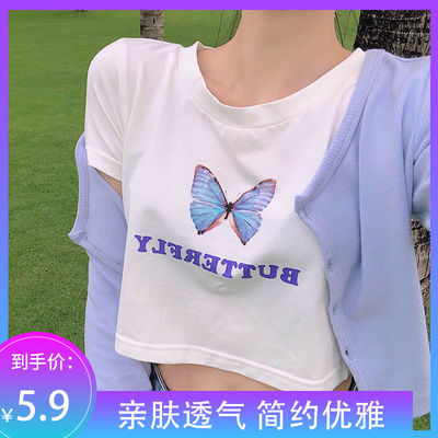 短袖t恤泫雅2021露肚脐短款半袖上衣白色蝴蝶短袖T恤女装夏季印花
