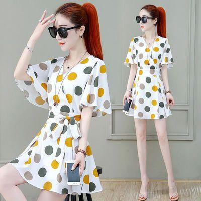 40127/雪纺套装连衣裙女装2021年夏季新款洋气小个子夏天收腰小裙子潮