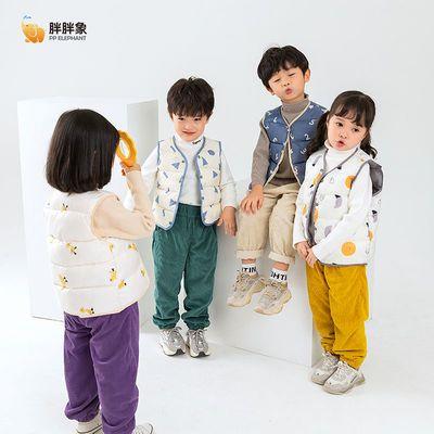 39172/胖胖象冬装棉马甲2021新款男女童反季清仓加绒面背心