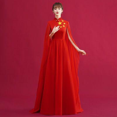 36960/合唱团演出服女长裙舞台朗诵建党表演服装学生红歌指挥主持礼服