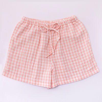 无印工坊日系情侣睡衣格子系带短裤全棉双层纱夏季居家睡裤夏