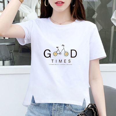 (纯棉)短袖T恤女2021夏季新款大码胖MM印花韩版百搭女上衣