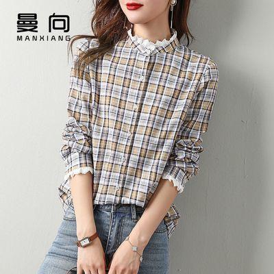 31300/曼向2021春季新花边拼接撞色格纹格子经典衬衫时尚气质显瘦衬衫女