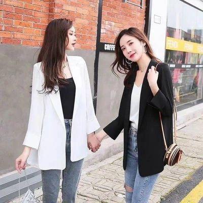 34964/小西装外套女新款2021夏季韩版中长款休闲宽松时尚气质洋气西服