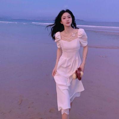 66408/森系连衣裙女夏装高档温柔风长裙白色法式初恋桔梗裙洋气减龄裙子