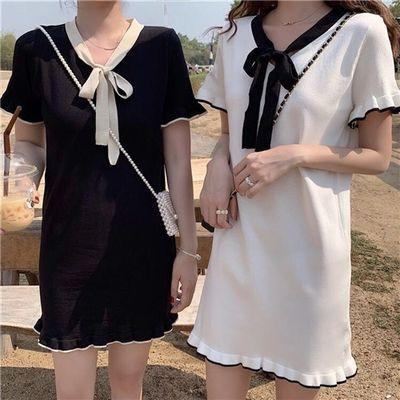 32948/跑量款裙子女2021新款夏季韩版百搭小清新冰丝针织学生短袖连衣裙