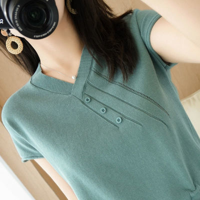 70181/新款夏女100%纯棉针织V领短袖T恤薄款抽绳镂空上衣纯棉线空调衫潮