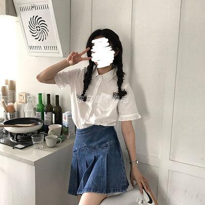 32238/ins夏季新款衬衫女学生韩版宽松显瘦设计感上衣百搭白衬衣2021潮